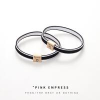 粉红娘娘(PINK EMPRESS)十二星座情侣皮筋发绳韩国网红头饰头绳手链两用小皮套送给男朋友