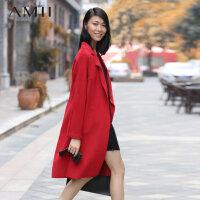 AMII[极简主义] 冬季新品欧美长款羊毛呢大衣英伦风毛呢外套女11490578