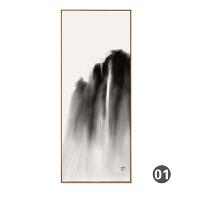 新中式装饰画客厅书房茶室会所沙发背景墙挂画中国风水墨山水壁画 0*0 亚光黑 独立