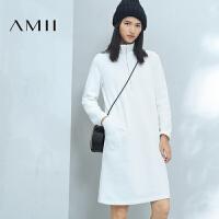 【1件7折/2件5折 再用券】AMII冬女装新品POLO领纯色抓绒大码连衣裙11643703