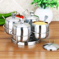 不锈钢调味罐套装四件套家用厨房用品欧式旋转式油盐罐盐罐子 支持礼品卡支付