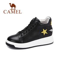 camel 骆驼女鞋 秋季新品时尚拼接平跟女鞋 个性舒适厚底系带高帮鞋