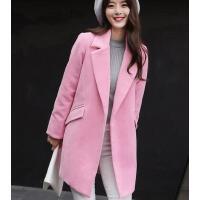 外套女 女装 新款韩版修身女装加厚毛呢外套女中长款宽松茧型呢子大衣