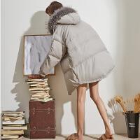【直降价439元叠加200-30】唐狮冬装新款羽绒服女韩版个性羽绒服连帽大毛领羽绒服女