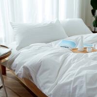 【人气】放心购 无印水洗棉四件套裸睡全棉简约大格纹床上用品全套纯色床笠被套良品
