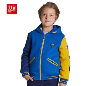 季季乐男童外套春秋款儿童连帽宽松休闲外套舒适运动上衣BQW61121