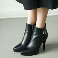 娜箐箐冬新款牛皮细跟靴高跟短筒靴女鞋尖头优雅真皮短靴女靴