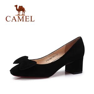 Camel/骆驼女鞋 2017夏新款 舒适简约坡跟气质蝴蝶结单鞋