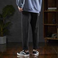 【1折价52.9元】唐狮春季新款黑色牛仔裤男直筒宽松小哈伦男士牛仔长裤韩版潮