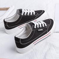 黑色帆布鞋女学生韩版春季2019新款百搭小黑鞋潮板鞋港味复古布鞋