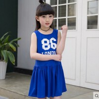新款背心裙韩版字母露背小女孩裙子运动风童装女童夏季连衣裙