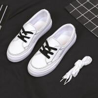 夏季新款小白鞋女2019夏款透气白鞋百搭板鞋系带平底网红超火潮鞋 白色(黑白鞋带各一双)