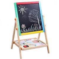 环保实木 儿童双面画板画架套装小黑板支架式宝宝画画写字板 65cm彩色画板粉笔+黑板擦+多功能水笔
