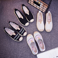 新款老北京布鞋女夏透气韩版帆布鞋平底懒人鞋一脚蹬休闲鞋子