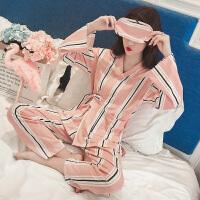 睡衣女秋季纯棉韩版条纹学生甜美可爱和服冬公主风家居服长袖套装 虾色竖条纹和服