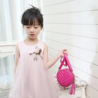 2017新款儿童包包 公主潮单肩包 PU女童圆形斜跨包 小孩子零钱包