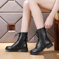 2019春秋款女短靴英伦马丁靴粗跟军靴系带靴子中筒靴中性男女同款