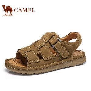 camel骆驼男凉鞋  夏季新款 牛皮手工缝制户外休闲沙滩鞋凉鞋