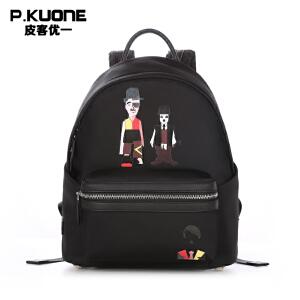 【可礼品卡支付】皮客优一P.kuone2017新款个性潮流双肩包卡通动漫图案男青年双肩背包学生书包P770811