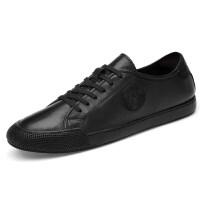 品牌新款男鞋真皮春季英伦休闲鞋韩版潮流小白鞋百搭皮鞋白色男士板鞋