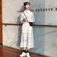 法国复古裙春装2019流行裙子新款韩版中长款过膝格子连衣裙女长裙