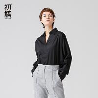 初语年秋冬季新款衬衫女 翻领大廓形长袖纯色直筒长袖衬衫女