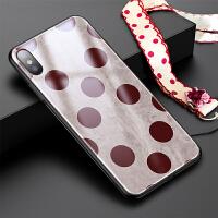 苹果xs max手机壳iPhonex复古波点ins超火玻璃8plus酒红xs女款iphone7plu iphone x