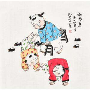 当代知名画家泓君三尺斗方人物画gr00871