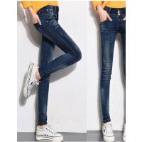 新款修身小脚裤长裤 铅笔裤排扣高腰弹力 加绒加厚时尚牛仔裤女