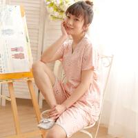 原创日式可爱猫咪和服睡衣女士春夏季纯棉纱布浴衣短袖中裤家居服套装GH056