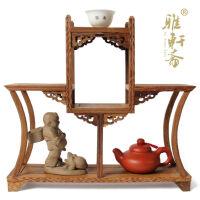 鸡翅木雕博古架 紫砂壶古玩红木底座明清红木家具奇石底座茶壶架