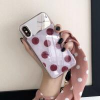 波点镜子xsmax苹果x手机壳硅胶7plus潮牌8plus挂绳iphone6s创意女 iphone 7/8