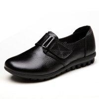 【头层牛皮】春秋妈妈鞋魔术贴单鞋中老年女鞋平底老人皮鞋 999 黑色