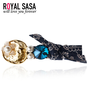 皇家莎莎RoyalSaSa韩版手工发饰品水钻蝴蝶结发夹发卡子刘海边夹顶夹头饰HFS509351