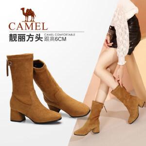 camel/骆驼女鞋2017秋冬新款优雅高跟靴粗跟女靴高筒靴复古方头高靴