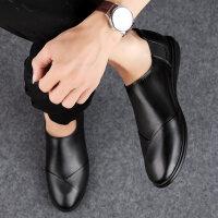 皮鞋男夏季新品软底牛皮男鞋透气单鞋正装商务休闲鞋中青年男士黑色软面皮豆豆鞋