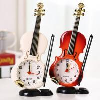 御目 闹钟 小提琴小闹钟儿童创意静音时尚个性乐器造型桌面时钟客厅摆件台钟学生床头钟简约家居闹钟