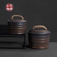 粗陶茶叶罐鎏金宽口存放罐复古创意密封普洱茶茶饼储存罐