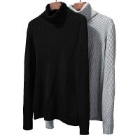 秋冬季男士高领毛衣加厚几何纹理宽松黑白色修身打底针织衫