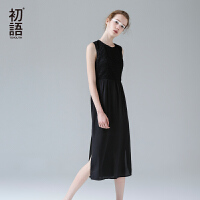 初语夏季新款复古格纹V领拼接开叉无袖连衣裙中腰长裙女