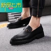 新品上市春季皮鞋男士韩版鞋子商务正装尖头男鞋青年英伦厚底内增高休闲鞋