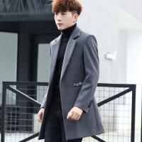 男士冬季外套中长款呢子大衣青年英伦格子西装毛呢帅气风衣男潮流