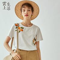 云上生活2019夏新款印花短袖t恤文艺圆领气质T恤女T5700