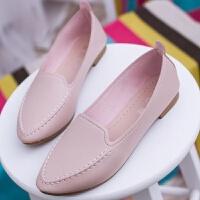 大东同款韩版工作鞋女白色尖头平底单鞋同款皮鞋子百搭休闲一脚蹬女鞋