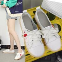 休闲鞋女韩版秋季百搭系带低帮鞋女时尚鞋子2019新款女防滑小白鞋 白色