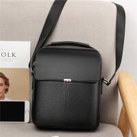 韩版男包包男士单肩包斜挎包商务休闲皮包竖款小手提包潮背包挂包 黑色 送手包