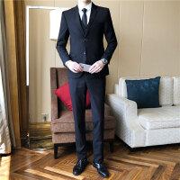 西服套装春装新品男款纯色职业装西装马甲裤子三件套装工作服