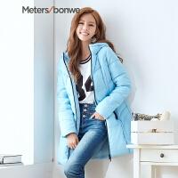 美特斯邦威羽绒服女秋冬装运动感中长款显瘦韩版外套238941