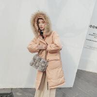 女中长款2018新款冬装韩版ins学生棉袄宽松显瘦加厚棉衣外套 浅橘色 S