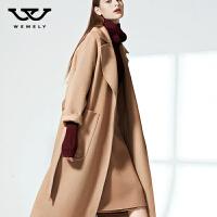 维米莉双面绒呢子大衣外套驼色双面羊绒大衣女2017新款时尚中长款